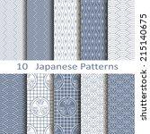 set of ten japanese patterns | Shutterstock .eps vector #215140675