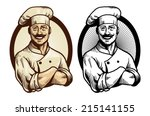hand drawing chef with crossed... | Shutterstock .eps vector #215141155