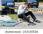 Sad Man At Road Accident Scene...