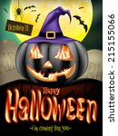 halloween poster with jack o... | Shutterstock .eps vector #215155066
