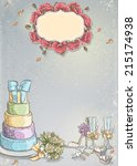 wedding invitation with a... | Shutterstock . vector #215174938