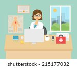 vector illustration of a doctor ... | Shutterstock .eps vector #215177032