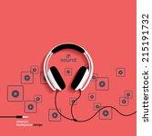 headphones  flat icon isolated... | Shutterstock .eps vector #215191732