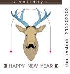 deer with blue horns. deer with ... | Shutterstock .eps vector #215202202