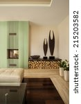 view of fireplace in a living...   Shutterstock . vector #215203582