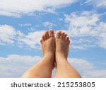female feet close up against...   Shutterstock . vector #215253805