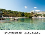 kassiopi beach  corfu island ... | Shutterstock . vector #215256652