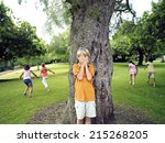 boy with hands covering eyes... | Shutterstock . vector #215268205