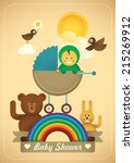 Comic baby shower illustration. Vector illustration. - stock vector
