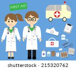 male and female doctors with... | Shutterstock .eps vector #215320762