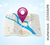 vector map icon with pin... | Shutterstock .eps vector #215333698