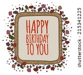 birthday card template. vector... | Shutterstock .eps vector #215341225