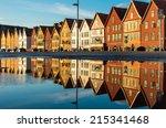 famous bryggen street with... | Shutterstock . vector #215341468