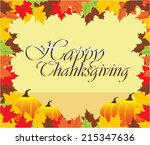 happy thanksgiving | Shutterstock .eps vector #215347636