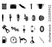 auto parts icon set on gray... | Shutterstock .eps vector #215355922