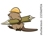 Beaver Builder Carries A Woode...