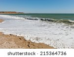 texture of white waves on a... | Shutterstock . vector #215364736