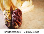 indian corn with copy space. | Shutterstock . vector #215373235