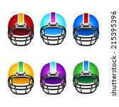 football helmets with different ...