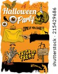retro halloween icons | Shutterstock .eps vector #215429686