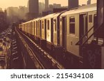 Subway Train In New York At...