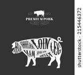 vector pig cuts diagram in... | Shutterstock .eps vector #215446372