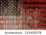 American Flag Painted On Wood...