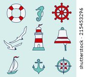 pattern with nautical elements. ... | Shutterstock . vector #215453296