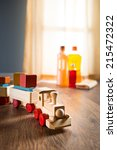 wooden toy train with wood... | Shutterstock . vector #215472322