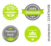eco food icons set with round... | Shutterstock .eps vector #215476438