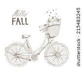 hand drawn bike with pumpkins... | Shutterstock .eps vector #215483245