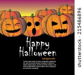 halloween party greeting card ... | Shutterstock .eps vector #215486896