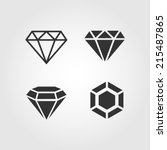 Diamond  Icons Set  Flat Design