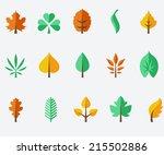 leaf icon set | Shutterstock .eps vector #215502886