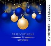 elegant blue christmas... | Shutterstock . vector #215521222