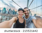 young couple taking selfie on... | Shutterstock . vector #215521642