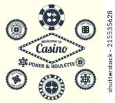 Casino lucky roulette play and win emblems set isolated vector illustration - stock vector