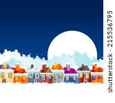 background with cartoon village ... | Shutterstock .eps vector #215536795