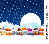 background with cartoon village ... | Shutterstock .eps vector #215536798