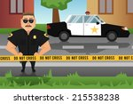 Policeman On Crime Scene With...