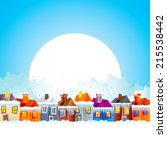 background with cartoon village ... | Shutterstock .eps vector #215538442