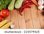 fresh organic vegetables on... | Shutterstock . vector #215579425