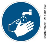 wash your hands mandatory sign  ... | Shutterstock .eps vector #215585452