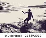 silhouette surfer and big wave. ... | Shutterstock .eps vector #215593012