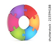 circle jigsaw puzzle wheel... | Shutterstock . vector #215594188