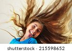 adorable child with long... | Shutterstock . vector #215598652