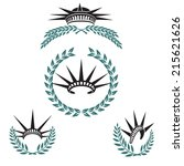 two emblems with crown and a... | Shutterstock .eps vector #215621626