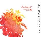 watercolor vector autumn fall... | Shutterstock .eps vector #215621656