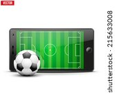 mobile phone with football... | Shutterstock .eps vector #215633008