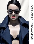 fashion outdoor portrait of a... | Shutterstock . vector #215641522
